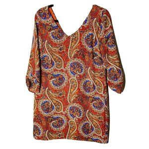 Pink Owl Orange Paisley V-Neck Dress Size Medium